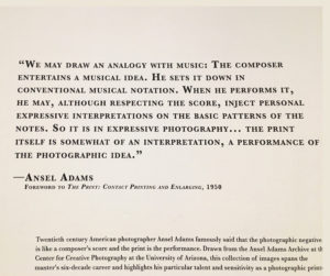Ansel Adams quote about printing